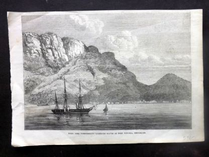 ILN C1860 H.M.S. Lyra dismbarking liberated Slaves. Port Victoria Seychelles